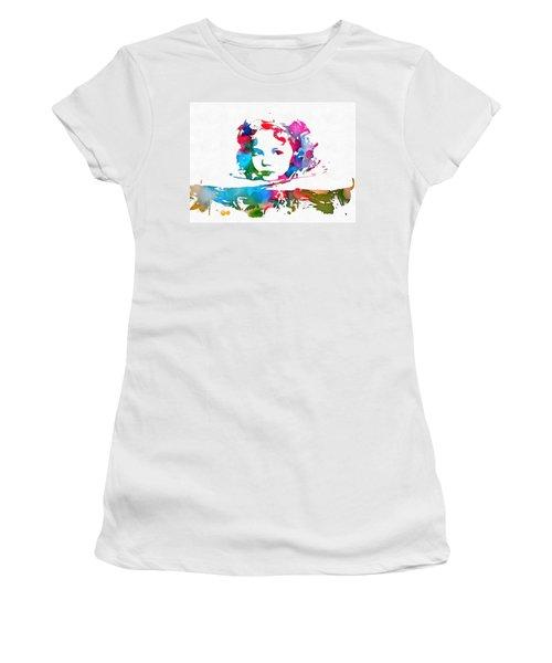 Shirley Temple Watercolor Paint Splatter Women's T-Shirt (Junior Cut) by Dan Sproul