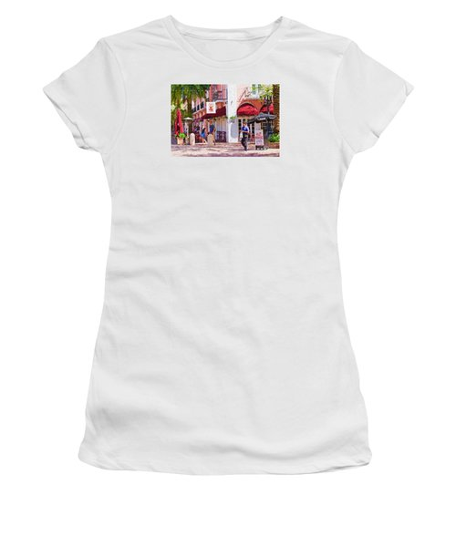 Women's T-Shirt (Junior Cut) featuring the painting Shop Til You Drop  by Judy Kay