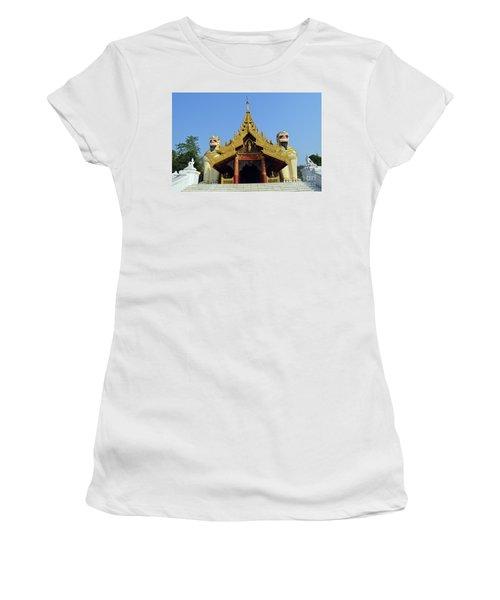 Women's T-Shirt (Junior Cut) featuring the digital art Shwedagon Pagoda 4 by Eva Kaufman