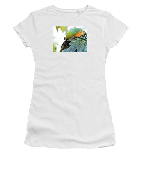 Women's T-Shirt (Junior Cut) featuring the photograph Shy Macaw by Penny Lisowski