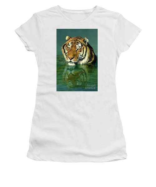Siberian Tiger Reflection Wildlife Rescue Women's T-Shirt (Athletic Fit)