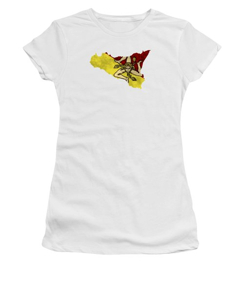Sicily Map Art With Flag Design Women's T-Shirt