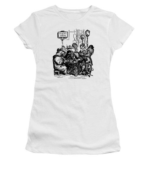 Women's T-Shirt featuring the digital art Sidewalk Cafe Grandville Transparent Background by Barbara St Jean