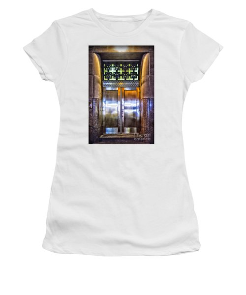 Women's T-Shirt (Junior Cut) featuring the photograph Sights In New York City - Bright Door by Walt Foegelle