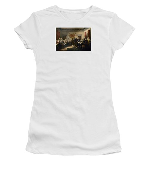 Signing The Declaration Of Independence Women's T-Shirt (Athletic Fit)