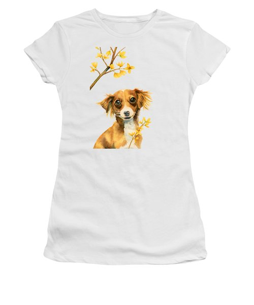 Signs Of Spring - Cute Dog With Forsythia Watercolor Painting Women's T-Shirt