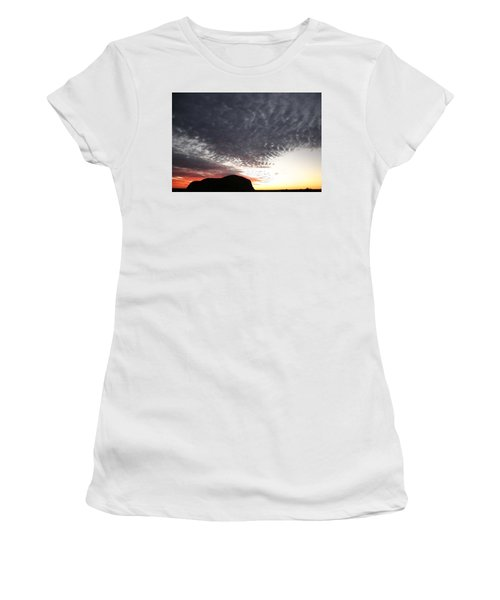Women's T-Shirt (Athletic Fit) featuring the photograph Silhouette Of Uluru At Sunset by Keiran Lusk