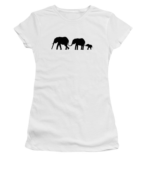 Silhouettes Of 3 Elephants Holding Tails  Women's T-Shirt