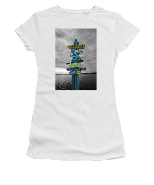 Silly Lily Fishing Station Sign Women's T-Shirt (Athletic Fit)