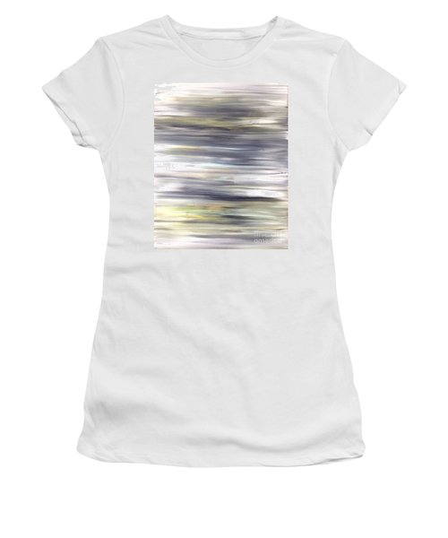 Silver Coast #26 Silver Teal Landscape Original Fine Art Acrylic On Canvas Women's T-Shirt (Athletic Fit)