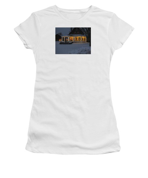 Women's T-Shirt (Junior Cut) featuring the photograph Simply Elegant Porch by Judy Johnson