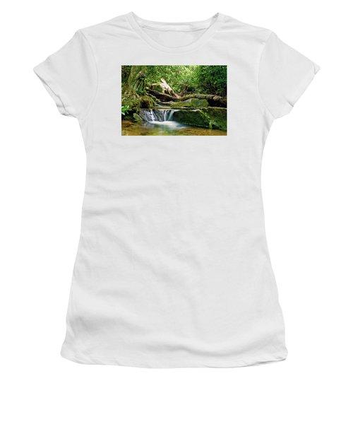 Women's T-Shirt (Junior Cut) featuring the photograph Sims Creek Waterfall by Meta Gatschenberger