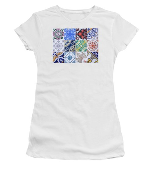 Women's T-Shirt (Junior Cut) featuring the photograph Sintra Tiles by Carlos Caetano