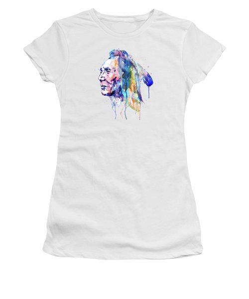 Sioux Warrior Watercolor Women's T-Shirt