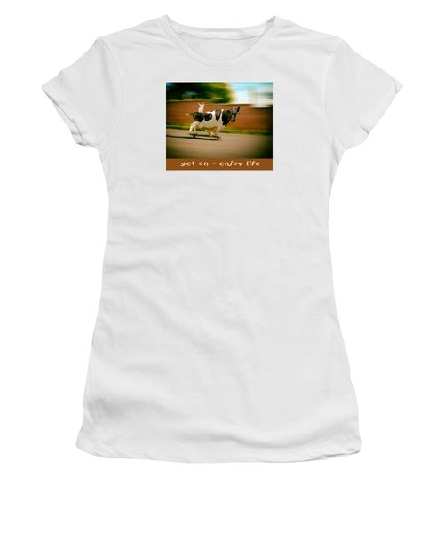 Skateboarding Cow And Pals Women's T-Shirt (Athletic Fit)