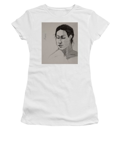 Women's T-Shirt (Junior Cut) featuring the drawing Sketch For Marie 2 by Ray Agius