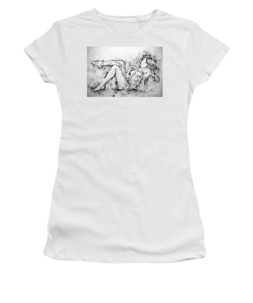 Sketchbook Page 46 Drawing Woman Classical Sitting Pose Women's T-Shirt (Athletic Fit)