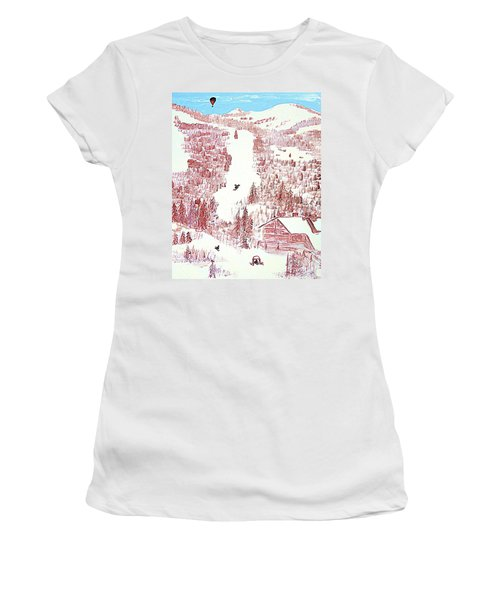 Skiing Deer Valley Utah Women's T-Shirt (Junior Cut) by Richard W Linford