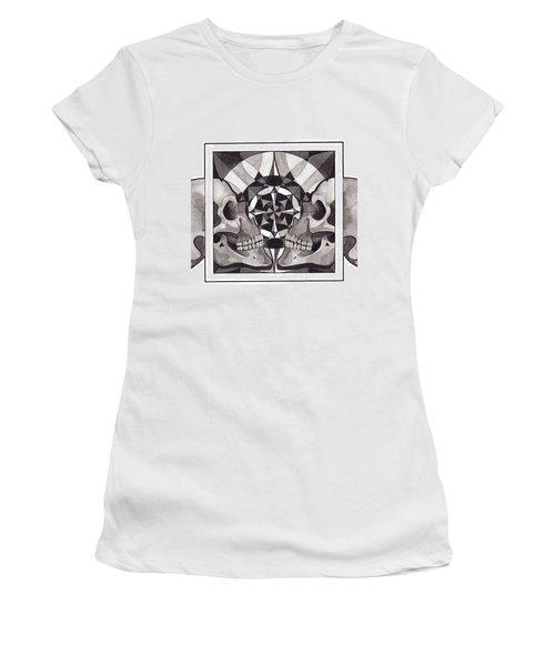 Skull Mandala Series Nr 1 Women's T-Shirt (Junior Cut) by Deadcharming Art