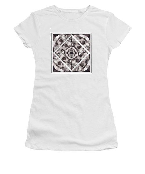 Skull Mandala Series Number Two Women's T-Shirt (Junior Cut) by Deadcharming Art
