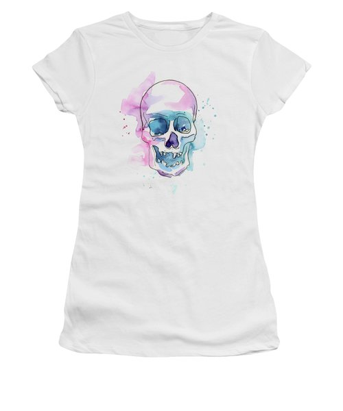Skull Watercolor Abstract Women's T-Shirt (Athletic Fit)