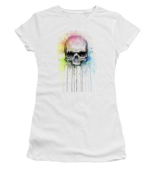 Skull Watercolor Rainbow Women's T-Shirt