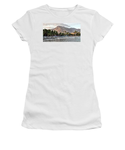 Sleepy Fishing Village Women's T-Shirt (Athletic Fit)