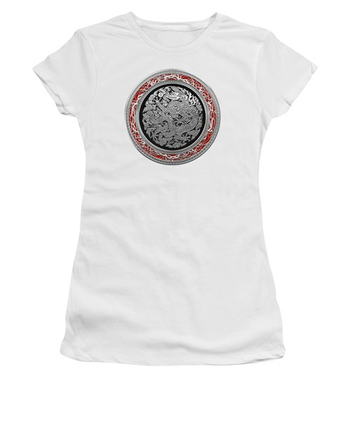 Sliver Chinese Dragon On White Leather Women's T-Shirt (Junior Cut) by Serge Averbukh