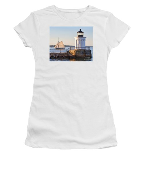 Sloop And Lighthouse, South Portland, Maine  -56170 Women's T-Shirt
