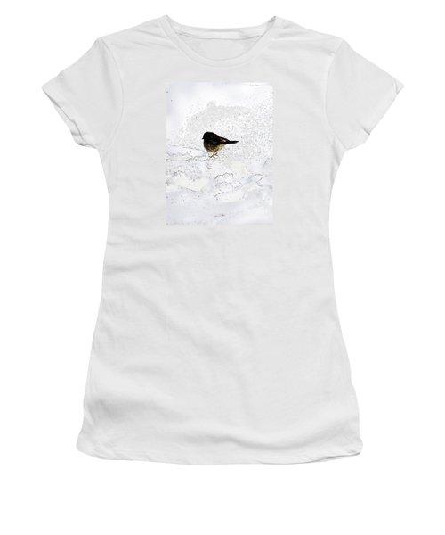 Small Bird On Snow Women's T-Shirt (Junior Cut) by Craig Walters