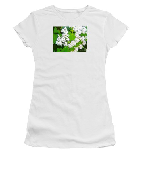 Small White Flowers Women's T-Shirt (Junior Cut) by Craig Walters