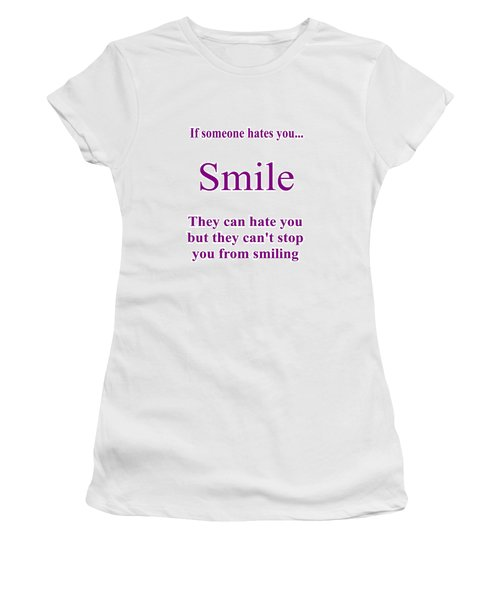 Women's T-Shirt featuring the digital art Smile by Peter Hutchinson