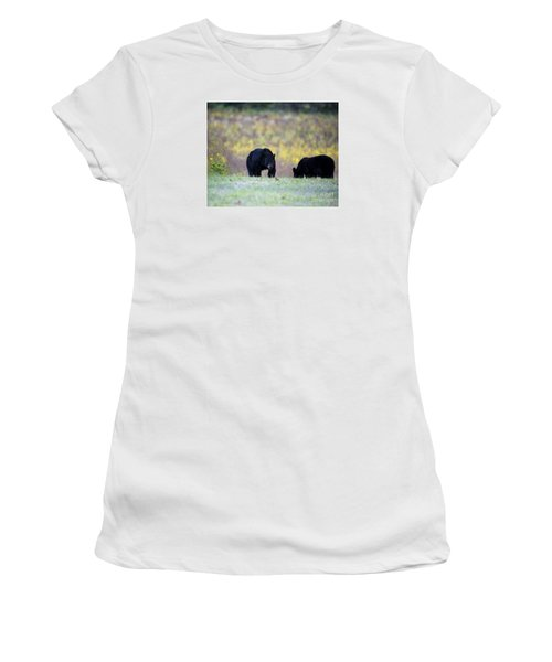 Smoky Mountain Black Bears Women's T-Shirt (Junior Cut) by Nature Scapes Fine Art