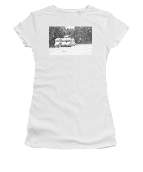 Snow Covered Hay Bales Women's T-Shirt