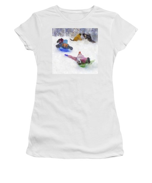 Snow Fun Women's T-Shirt (Junior Cut) by Francesa Miller