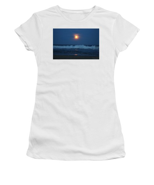 Snow Moon Ocean Waves Women's T-Shirt