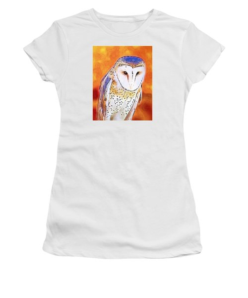 Women's T-Shirt (Junior Cut) featuring the digital art White Face Barn Owl by Tracie Kaska