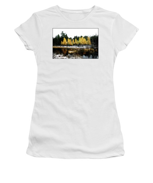 Women's T-Shirt featuring the photograph Snow Paints Larch Grove by Wayne King