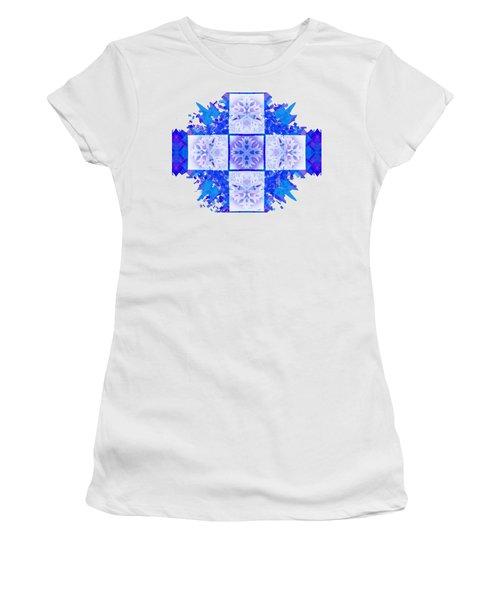 Women's T-Shirt (Junior Cut) featuring the digital art Snowflake Cross by Adria Trail