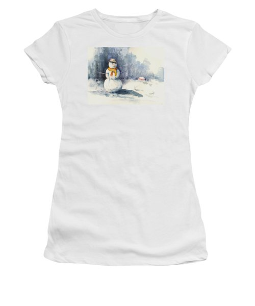 Women's T-Shirt featuring the painting Snowman by Sam Sidders
