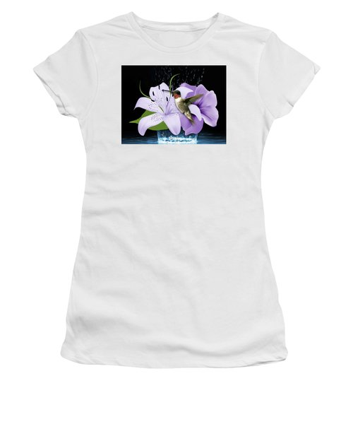 Women's T-Shirt (Athletic Fit) featuring the mixed media Soaring Hummingbird by Marvin Blaine