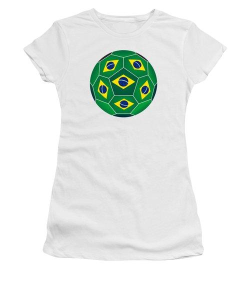 Soccer Ball With Brazilian Flag Women's T-Shirt