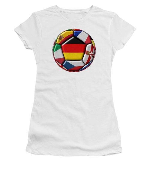 Soccer Ball With Flag Of German In The Center Women's T-Shirt (Athletic Fit)