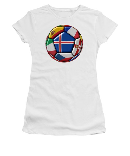 Soccer Ball With Flag Of Iceland In The Center Women's T-Shirt (Athletic Fit)