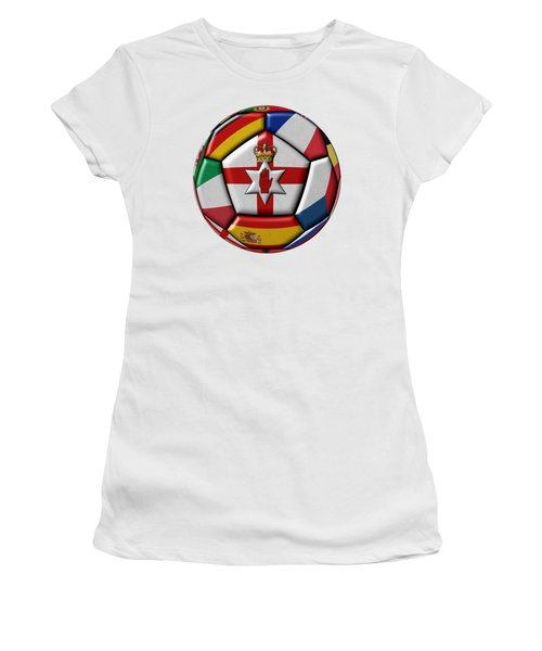 Soccer Ball With Flag Of Northern Ireland In The Center Women's T-Shirt