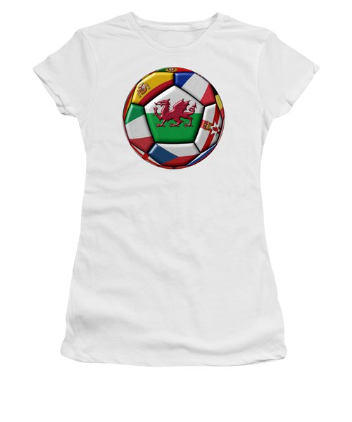 Soccer Ball With Flag Of Wales In The Center Women's T-Shirt