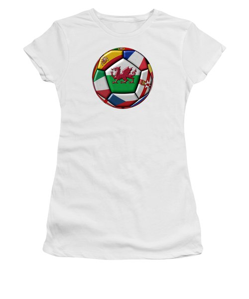 Soccer Ball With Flag Of Wales In The Center Women's T-Shirt (Athletic Fit)