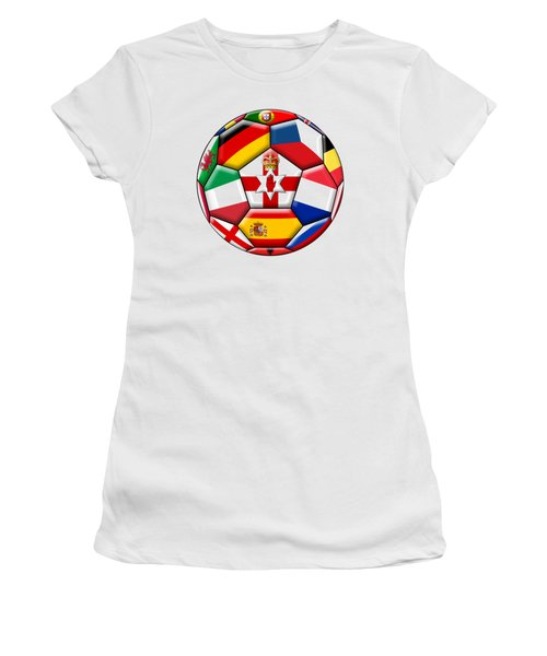 Soccer Ball With Flags - Flag Of  Northern Ireland In The Center Women's T-Shirt