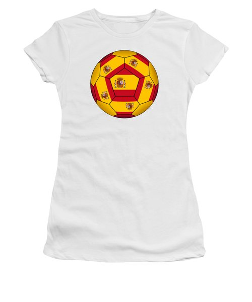 Soccer Ball With Spanish Flag Women's T-Shirt (Athletic Fit)