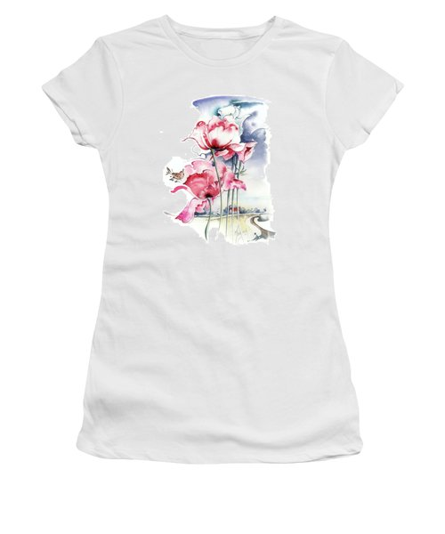 Women's T-Shirt (Junior Cut) featuring the painting Song About The Earth by Anna Ewa Miarczynska